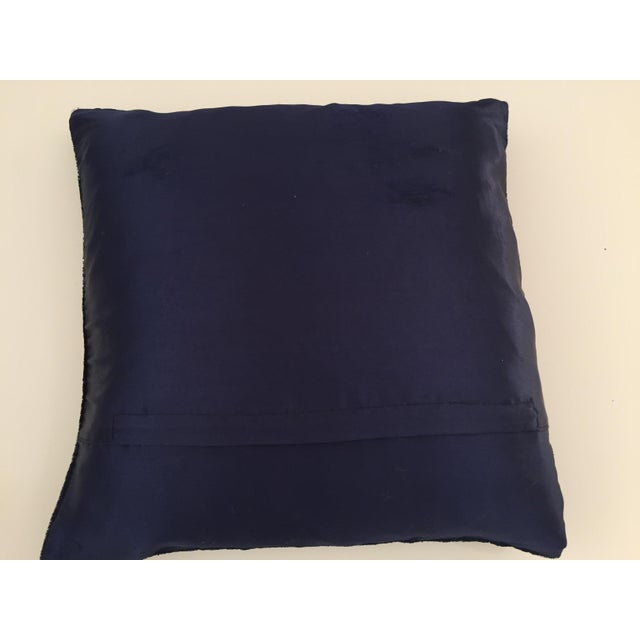 Mid Century Velvet Blue Silk Pillow Embroidered With Gold Peacock For Sale - Image 10 of 11