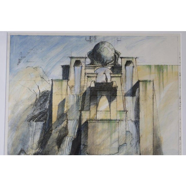 "This piece is a set design unique sketch from the 2002 ""Dinotopia"" miniseries, co-produced by Walt Disney Television. The..."
