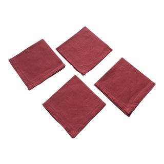 Set of Four (4) Red 100% Linen Cocktail Napkins For Sale