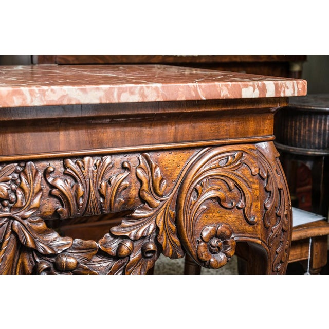 Mid 20th Century Irish Chippendale Style Oak Table with Marble Top For Sale - Image 5 of 9