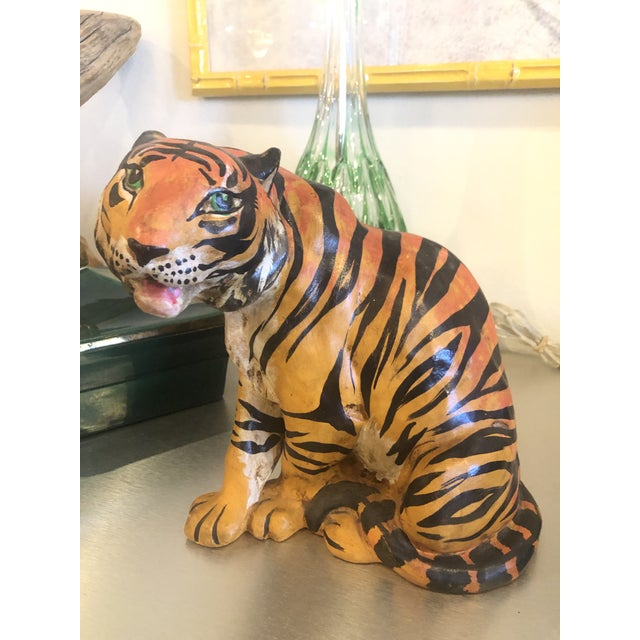 Vintage Hollywood Regency Italian Terracotta Tiger Statue For Sale - Image 13 of 13