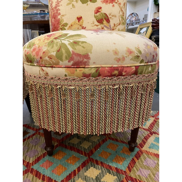 Vintage Floral Parsons Chairs - a Pair For Sale - Image 4 of 6