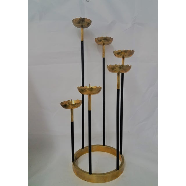Mid-Century Brass Candle Stick Holder For Sale - Image 11 of 11