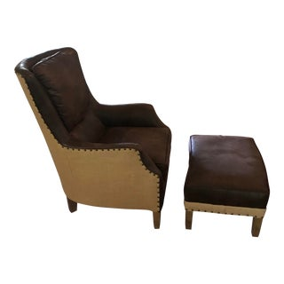 Leather & Linen Club Chair & Ottoman