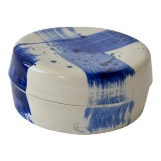 Contemporary Ceramic Round Box W/ Cobalt Calligraphy For Sale
