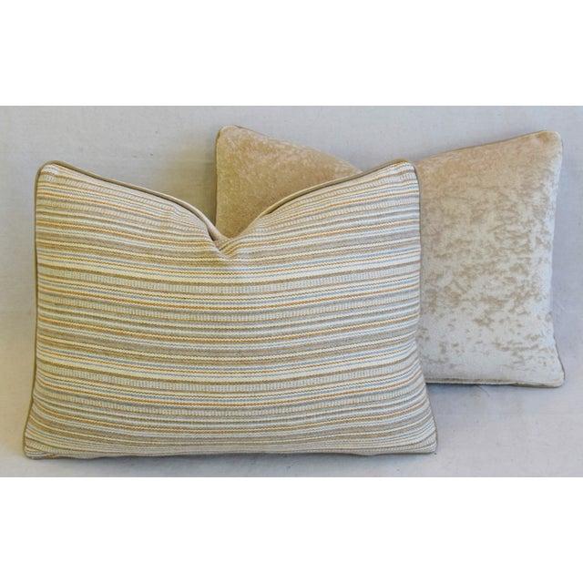 "Scottish Hodsoll McKenzie Wool Stripe & Scalamandre Velvet Feather/Down Pillows 22"" X 16"" - Pair For Sale - Image 9 of 12"