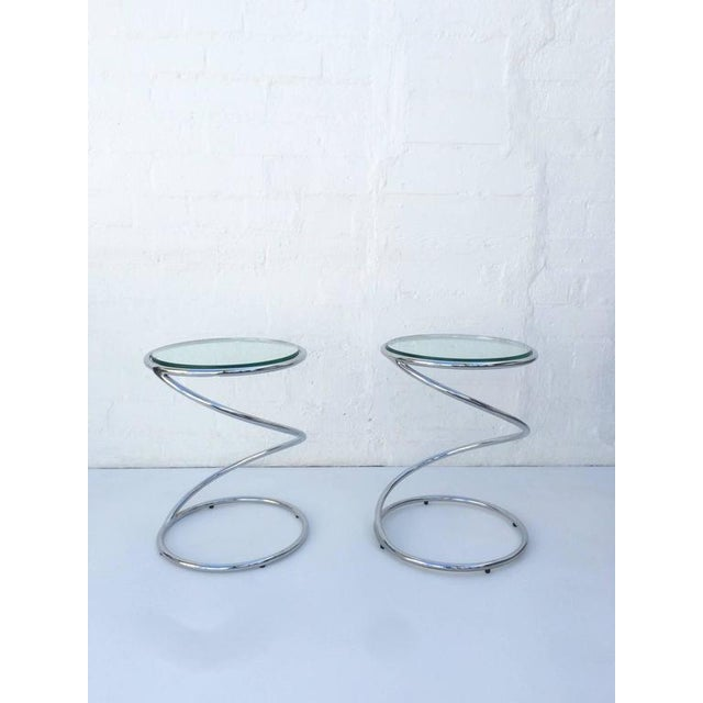 Polished Chrome and Glass Spiral Occasional Tables by Leon Rosen for Pace - Image 7 of 7