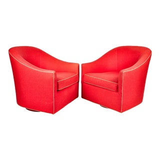 Contemporary North America Red Upholstered Bergere Chairs - a Pair For Sale