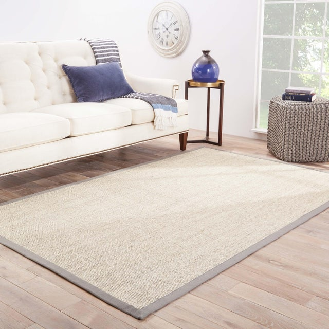 2010s Jaipur Living Palm Beach Natural Bordered Beige & Gray Area Rug - 8' X 10' For Sale - Image 5 of 6