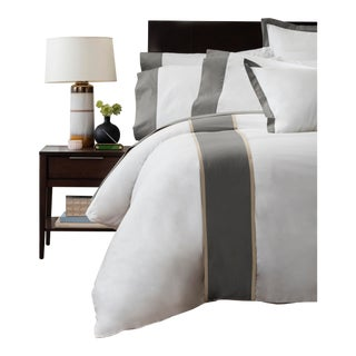 Monte Carlo Banded Duvet Cover Queen - Graphite For Sale