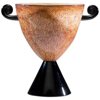 1993 Cohn-Stone Post-Modern Art Glass Two-Handled Urn For Sale