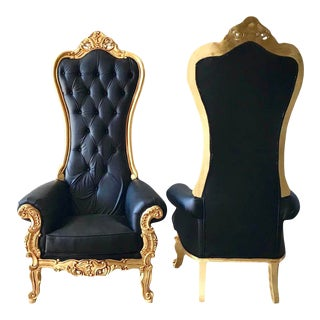 Modern New Made to Order Gold With Black Leather Baroque Throne Chairs - a Pair For Sale