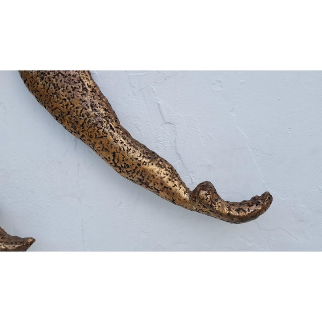 Overscale Brutalist Abstract Acrobats Bronze Wall Sculptures a Pair. - Image 9 of 11