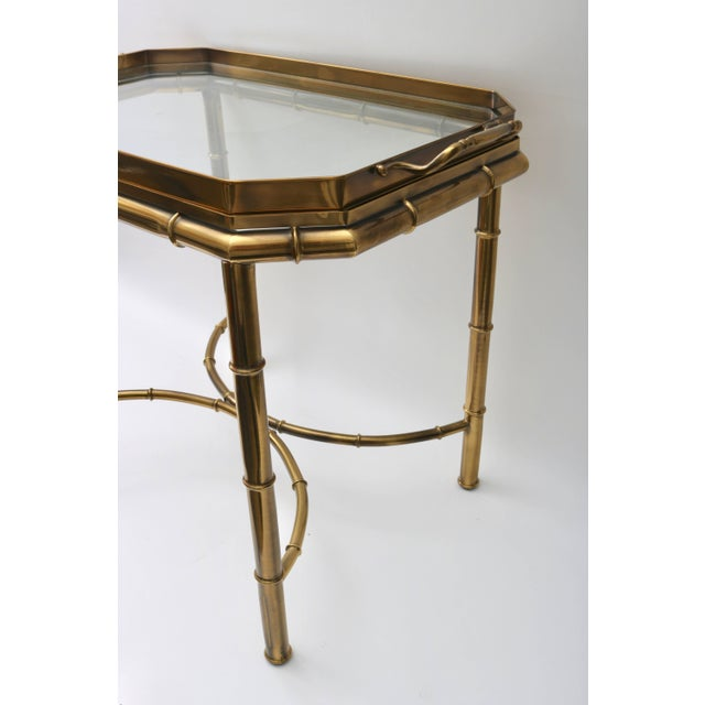 Late 20th Century Mastercraft Faux Bamboo Tray Table in Antique Brass For Sale - Image 5 of 10