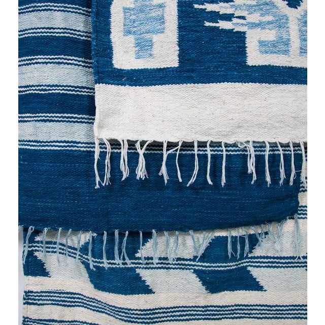 Blue & White Handwoven Striped Rug - 5′ × 8′6″ - Image 5 of 5