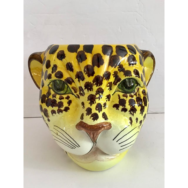 Ceramic 1960s Yellow and Brown Spotted Leopard Cache Pot For Sale - Image 7 of 7