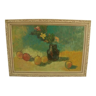 Mid 20th Century Fruit and Floral Still Life Acrylic Painting, Framed For Sale
