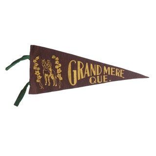 Vintage Grand Mere Que. Felt Flag Pennant For Sale