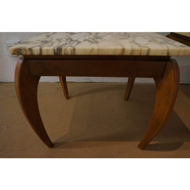 Mid-Century Marble and Walnut Side Tables - A Pair - Image 4 of 10