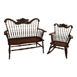Late 19th Century Mahogany Bench & Rocker Lion's Heads Binghampton Chair Co - Set of 2 For Sale