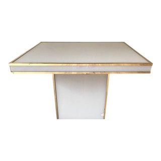 White Glass and Brass Table by Rougier