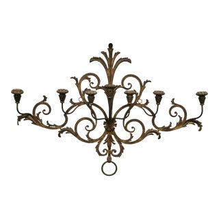Antique Italian Gilt Metal 7 Candle Wall Sconce For Sale