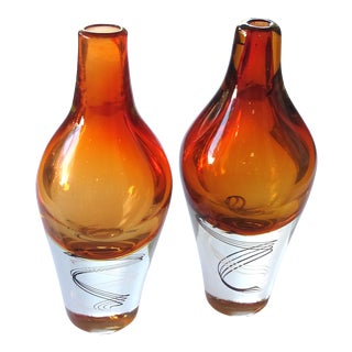 An Exceptional Pair of Kosta Boda Swedish Orange Art Glass Vases; Design by Klas-Goran Tinback For Sale