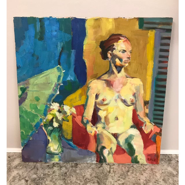 Vintage oil nude painting. Made by West Michigan based artist pre 1980's A. Balz.
