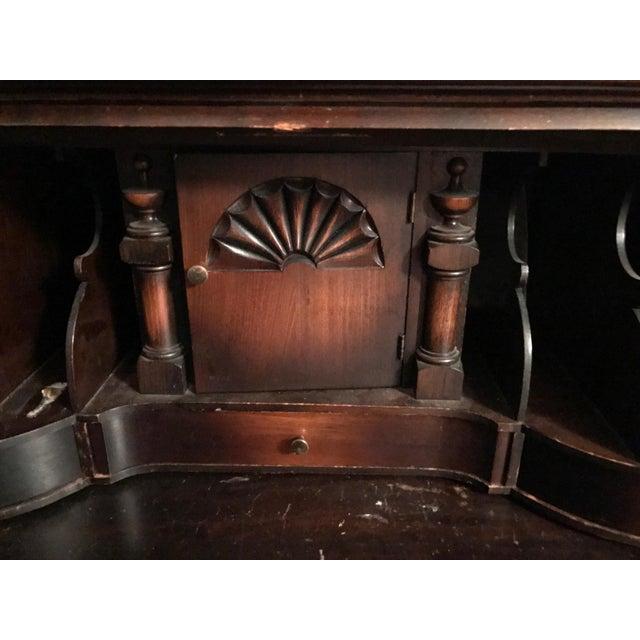 Queen Ann Mahogany Secretary Desk Armoire For Sale - Image 9 of 11