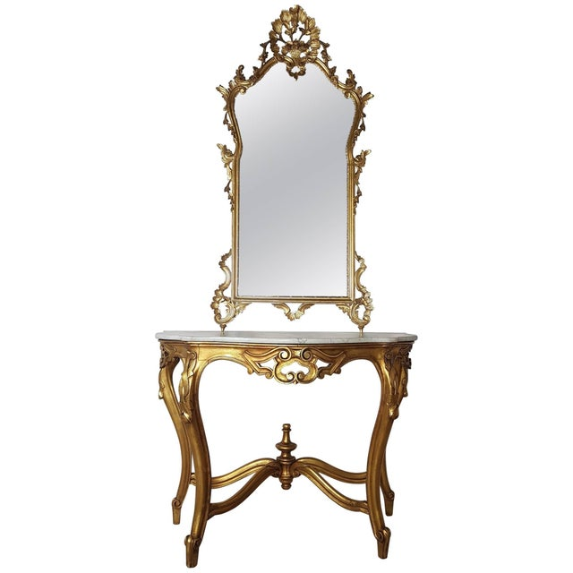 20th Century Italian Baroque Style Carved Gilded Wood Console Table With Mirror For Sale - Image 11 of 11