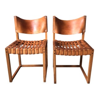 1970s Vintage Wood and Leather Camp Chairs - a Pair For Sale