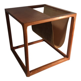 Beautiful Danish Teak & Leather Magazine Rack Side Table