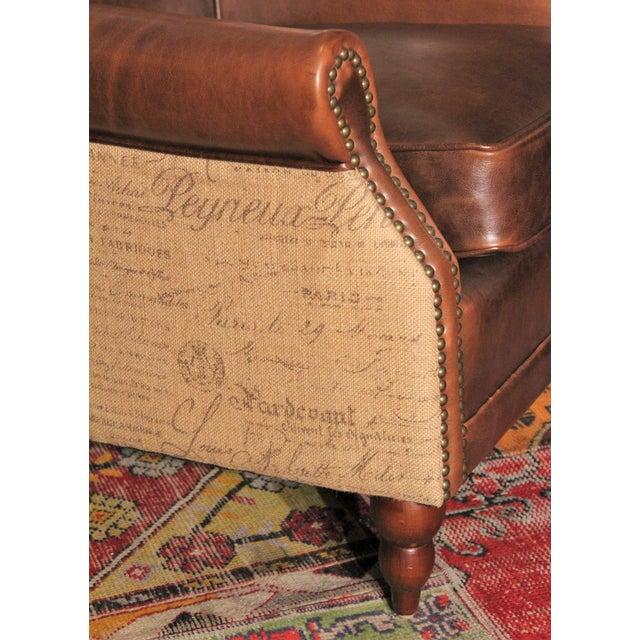 Leather & Burlap Script Chair - Image 5 of 5