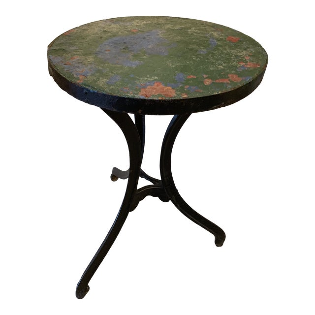 1940s French Circular Cast Iron Cafe Table For Sale