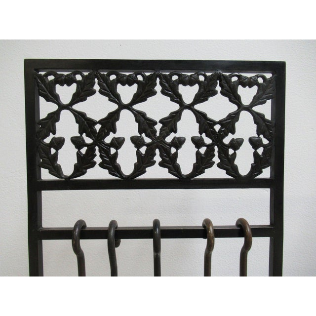 Vintage Wrought Iron Acorn Fireplace Tool Holder Set - Image 9 of 11