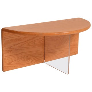 Gerald McCabe Oak and Lucite Coffee Table For Sale