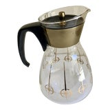 Image of 1960s Boho Chic Brass and Glass Pyrex Coffee Pot For Sale