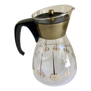 1960s Boho Chic Brass and Glass Pyrex Coffee Pot For Sale