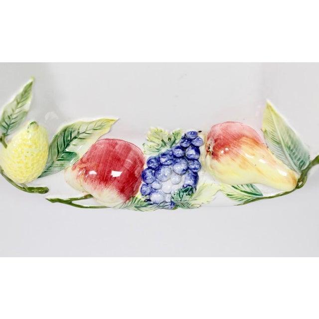 1970s Large Repoussé Majolica Fruit Motif Serving Platter For Sale - Image 5 of 7