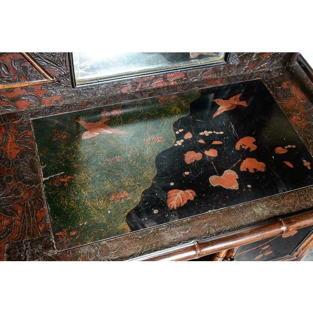 Black Antique English Bamboo and Lacquer Cabinet For Sale - Image 8 of 9