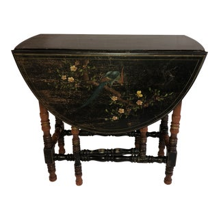 1930s Boho Chic Imperial Furniture Hand Painted Drop Leaf Table For Sale