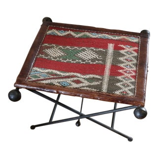 Funky Moroccan Seat/Chair Leather, Iron and Kilim For Sale