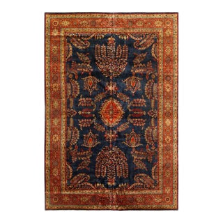 Pasargad Navy Blue Persain Hand Knotted Sarouk Design Rug- 12' X 18' For Sale