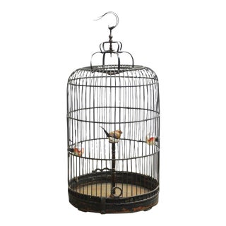Antique Chinese Domed Bamboo Bird Cage For Sale