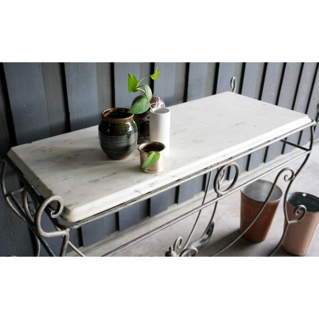 French Scrolled Iron Butcher / Pastry Table With White Marble Top For Sale - Image 9 of 13