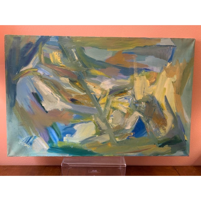 """Mid-Century Modern Abstract Oil Painting on Canvas """"Venice"""" 1964 For Sale - Image 11 of 11"""