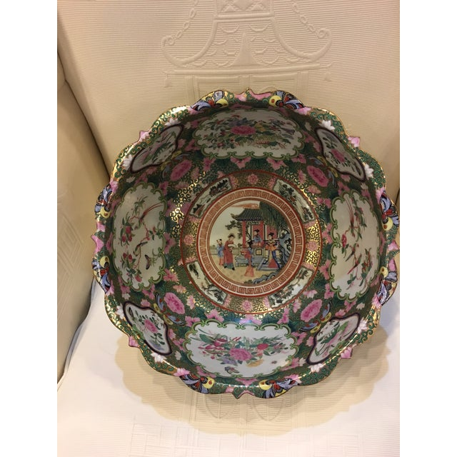 Asian Chinese Canton Style Famille Rose Porcelain Punch Bowl For Sale - Image 3 of 7