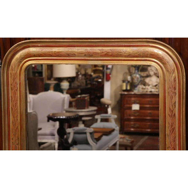 Mid-19th Century French Louis Philippe Gold Leaf Floral Design Mirror For Sale - Image 4 of 7