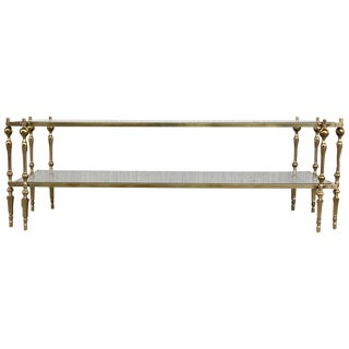 Mid Century Spanish Brass & Bronze Coffe Table With Smoked Glass & Double Leg For Sale