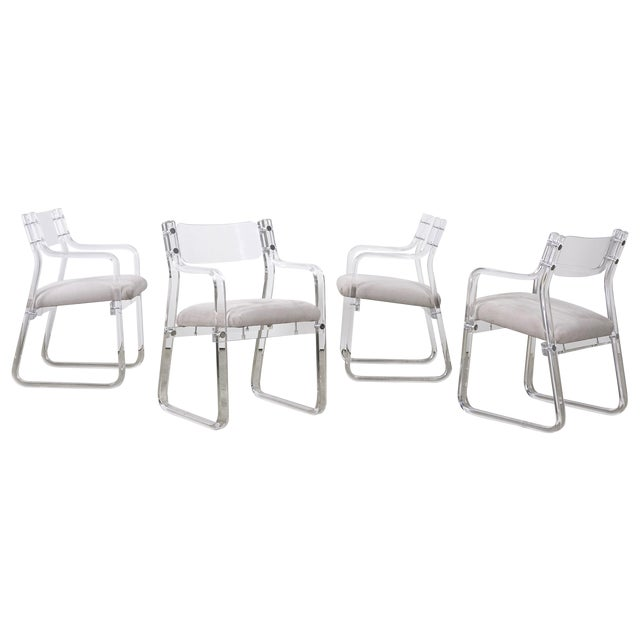 1970's Lucite Armchairs - Set of 4 For Sale